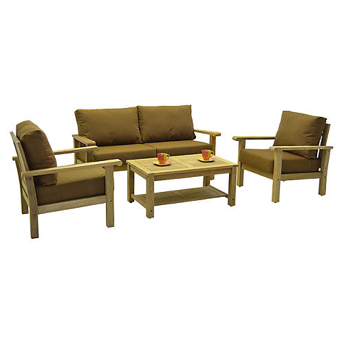 Gilli 4-Pc Outdoor Teak Set w/ Cushions