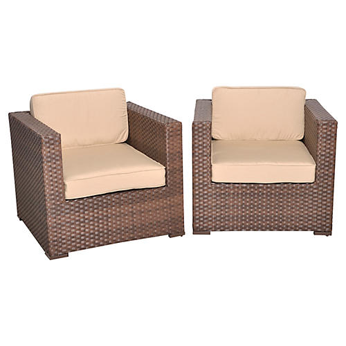 Bellagio Deluxe Outdoor Armchairs, Pair