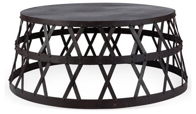 "Wesley 36"" Round Coffee Table, Ebony"