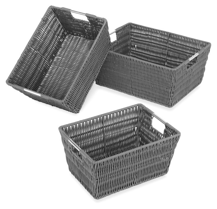 Asst of 3 Woven Handled Bins, Gray