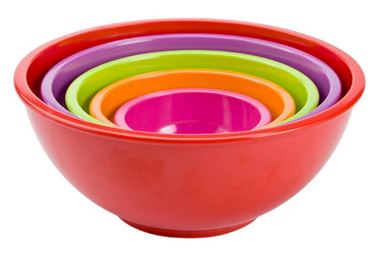 Asst of 5 Nested Bowls, Red/Multi