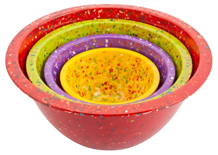 S/4 Assorted Melamine Confetti Bowls