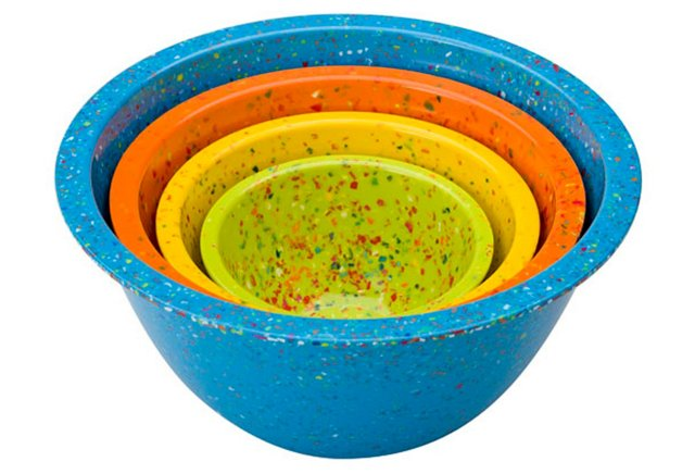 Asst of 4 Confetti Bowls, Blue/Multi