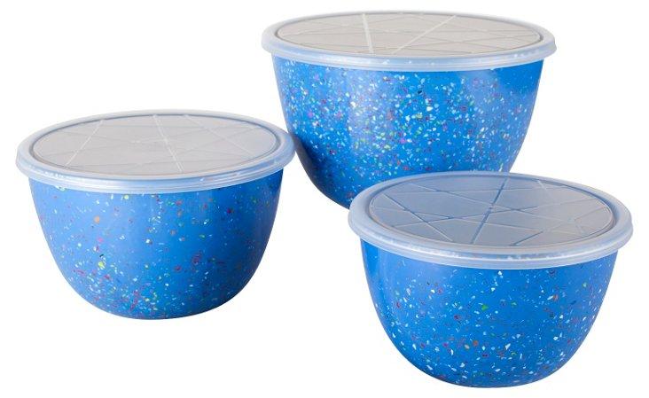 Asst of 3 Confetti Bowls w/ Lids, Blue