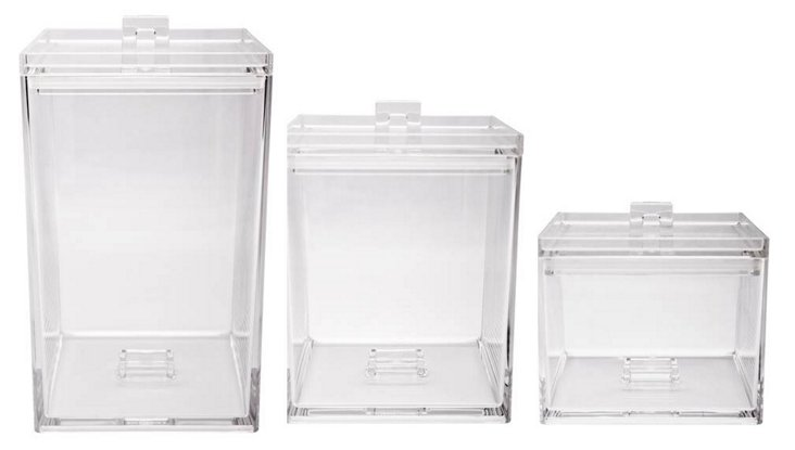S/3 Assorted Stackable Containers, Clear