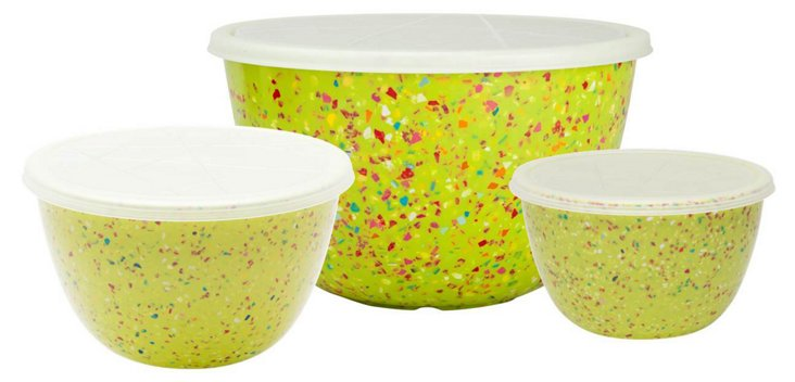 S/3 Assorted Lidded Bowls, Confetti Kiwi