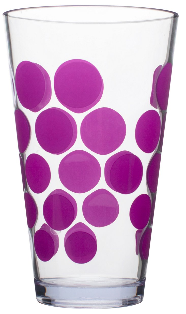 S/6 Purple Dots Tumblers, 19 Oz