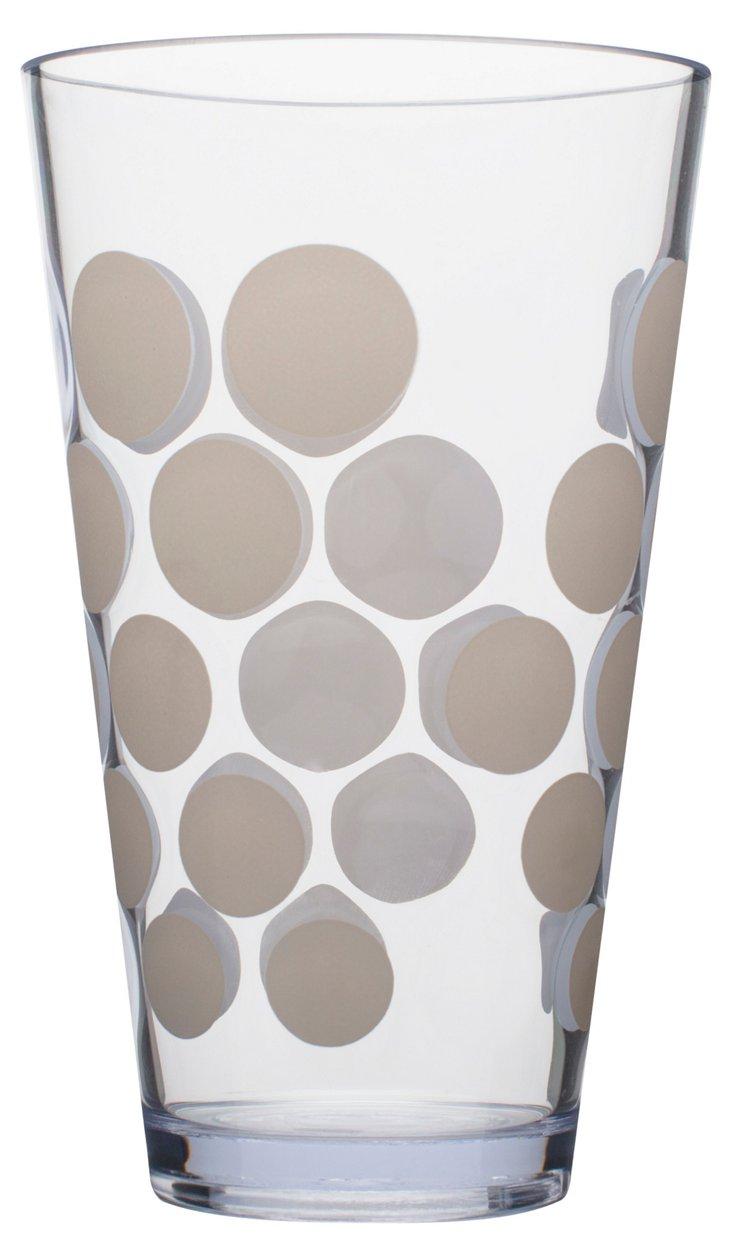S/6 White Dots Tumblers, 19 Oz