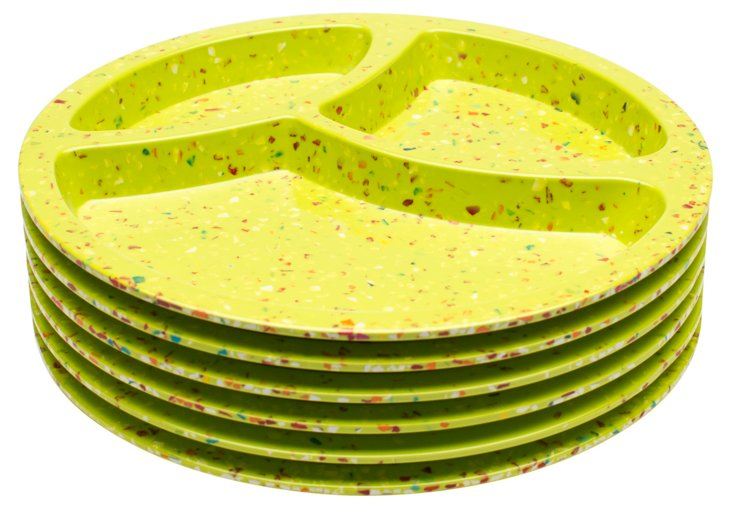 S/6 Melamine Divided Plates, Green