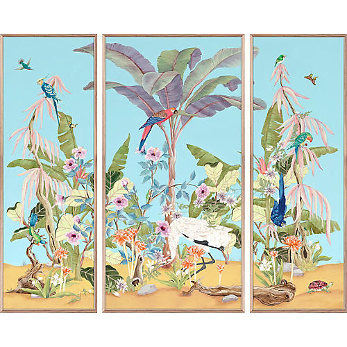 Jungle Chinoiserie Triptych, Alison Cosmos