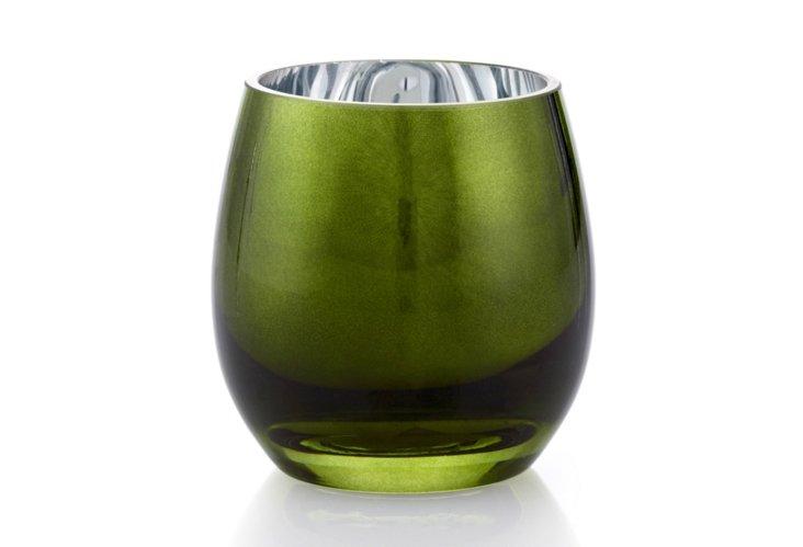 S/4 Polished Tea Light Holders, Green