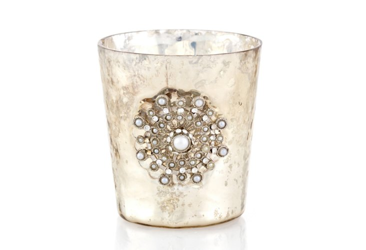 S/6 Jeweled Tea Light Holders, Cream