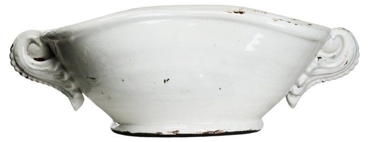 "18"" Mason Ceramic Bowl, White"