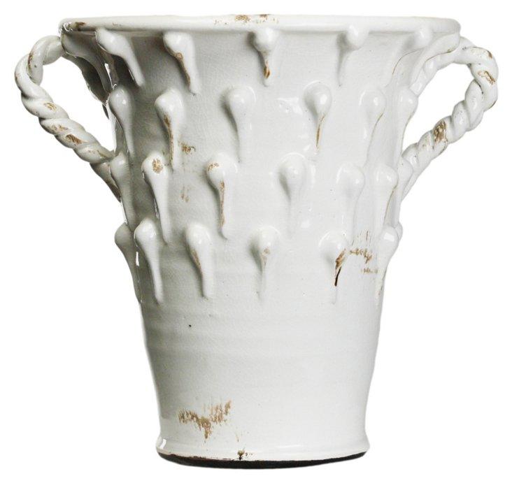 "16"" Artisan Drip Vase, White"