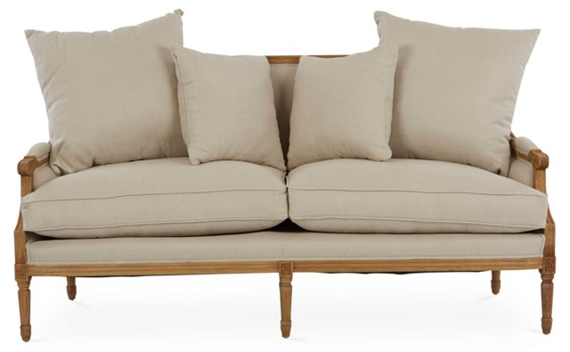 "Louis 70"" French Settee, Oatmeal"