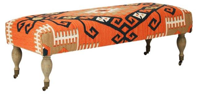 Cora Kilim Bench, Orange/Brown