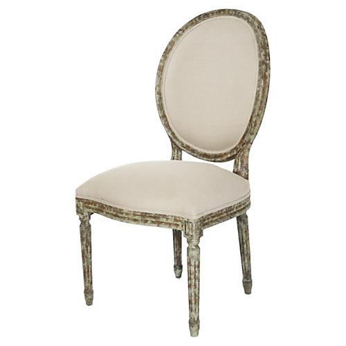 Octavia Side Chair, Ivory Linen