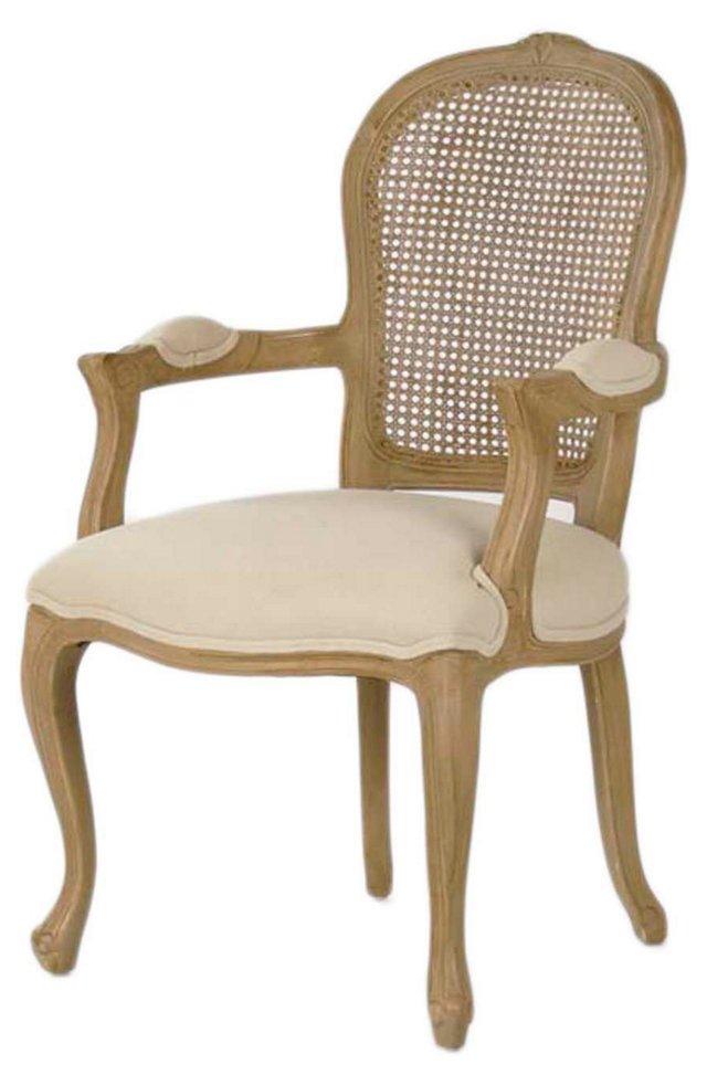 Junia Cane-Back Armchair, Oatmeal