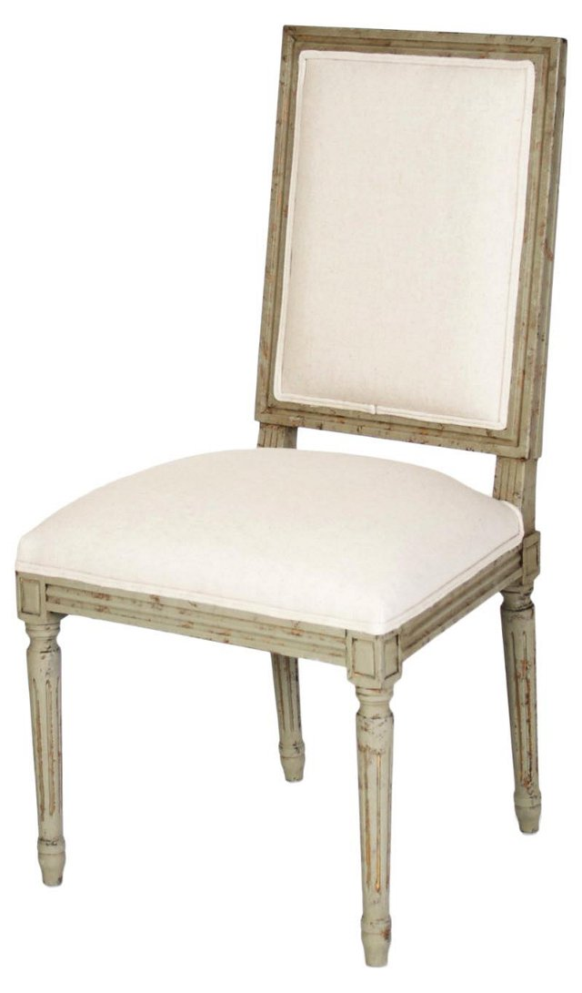 Valeria Side Chair, Olive Green/Ivory