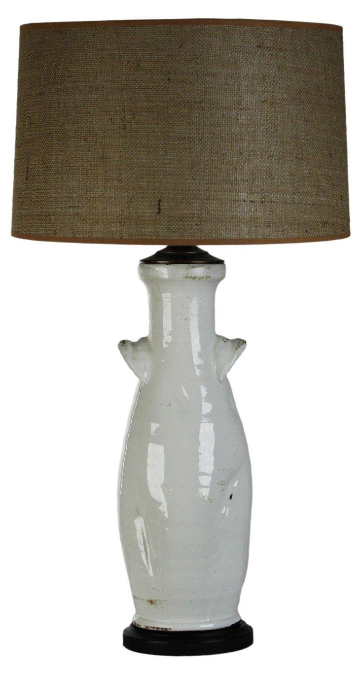 Pottery Vase Lamp, White