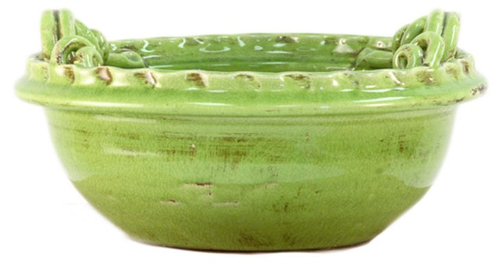 "8"" Green Clay Bowl"