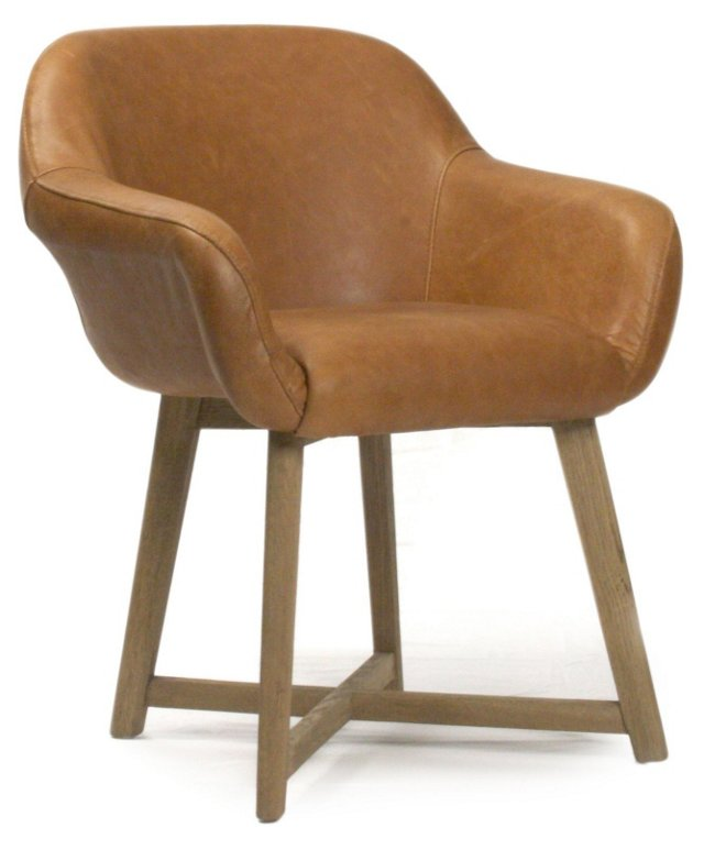 Coquille Accent Chair, Clay Leather