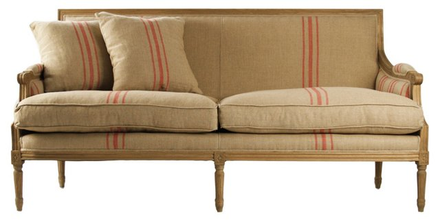 "Turnley 69"" French Stripe Settee, Red"