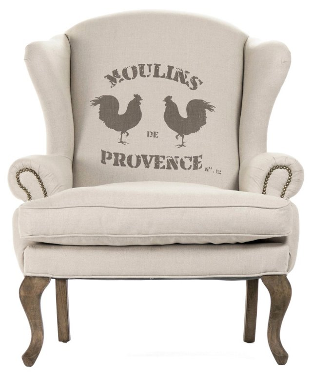 Moulins de Provence Wingback Chair