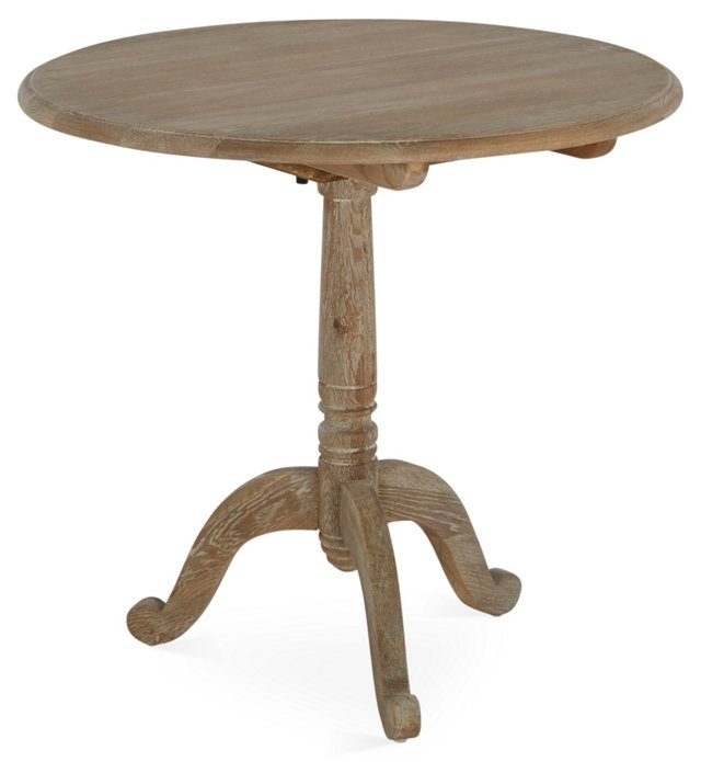 Monroe Round Side Table, Limed Walnut