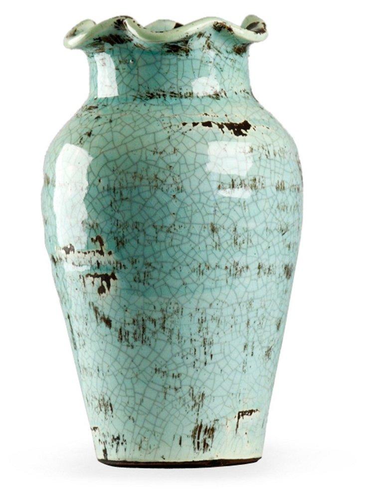 "7"" Petal-Top Vase, Blue"