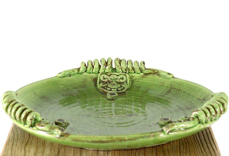 "18"" Green Ceramic Plate"