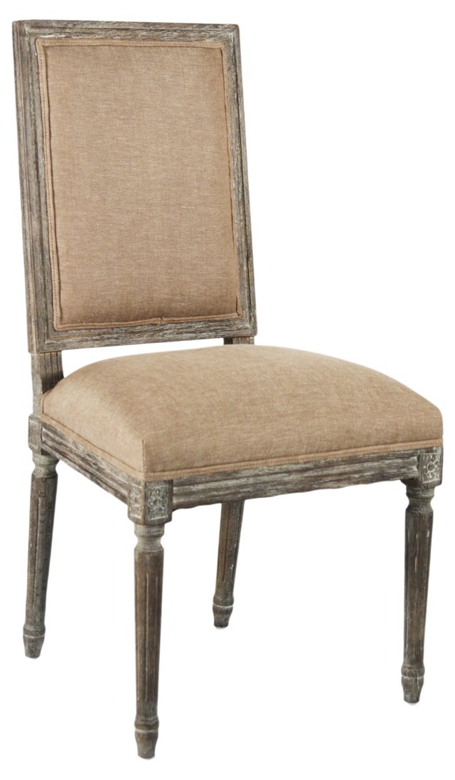 Valeria Side Chair, Limed Gray/Oatmeal