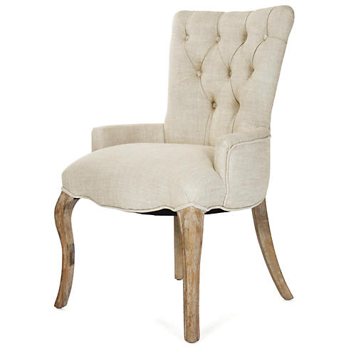 Iris Tufted Chair, Cream Linen