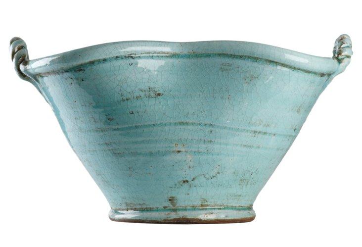 """18"""" Ceramic Tub, Blue"""
