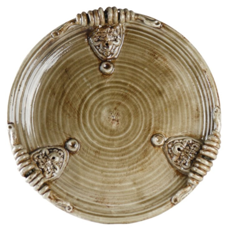 "18"" Gray Ceramic Plate"