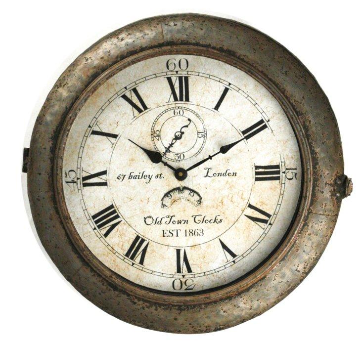 """18"""" Circular Iron Clock, Silver"""