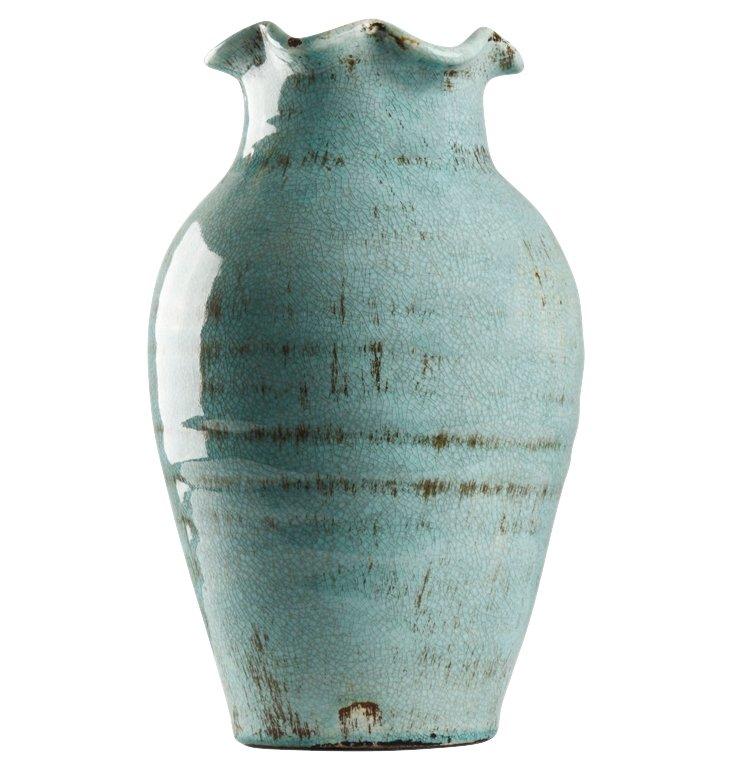"14"" Blue Petal Vase"