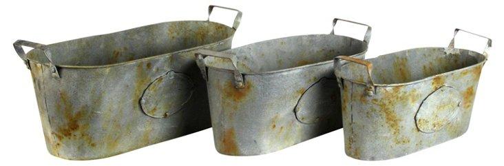 S/3 Weathered Buckets