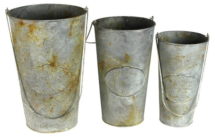 S/3 Weathered Tall Buckets