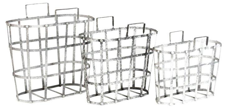 Asst. of 3 Metal Organizers, Gray
