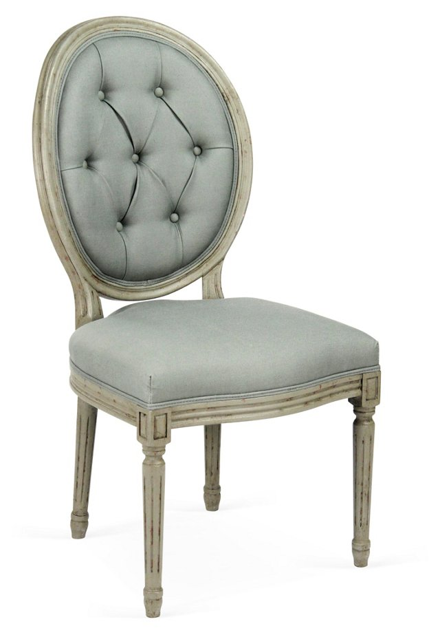 Medallion Side Chair, China Blue