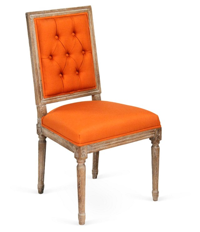 Valeria Tufted Side Chair, Persimmon