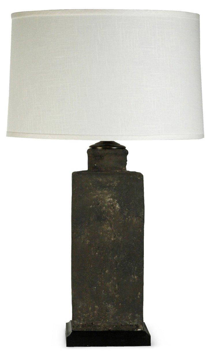 Large Rectangular Pottery Lamp