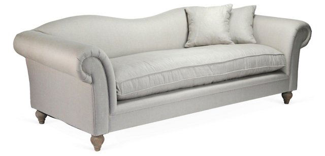 "Marcus Waved-Back 96"" Sofa, Gray"