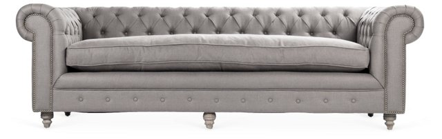 "Hayes 93"" Chesterfield Sofa, Charcoal"
