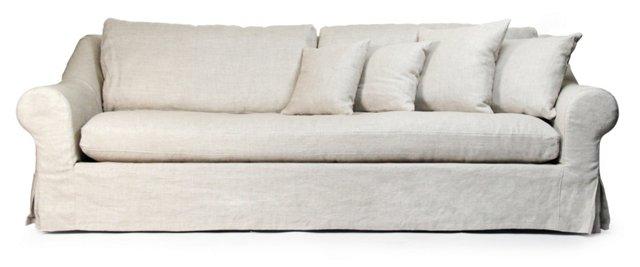 """Emiline 95"""" Sofa, Cream Linen"""