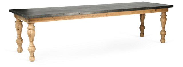 "Avery 118"" Zinc-Top Dining Table, Oak"