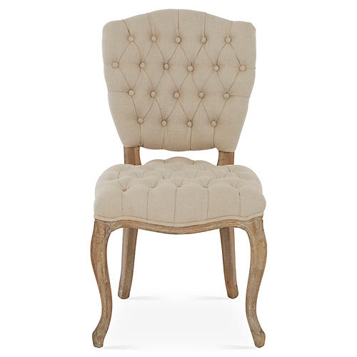 Keaton Tufted Side Chair, Oatmeal Linen