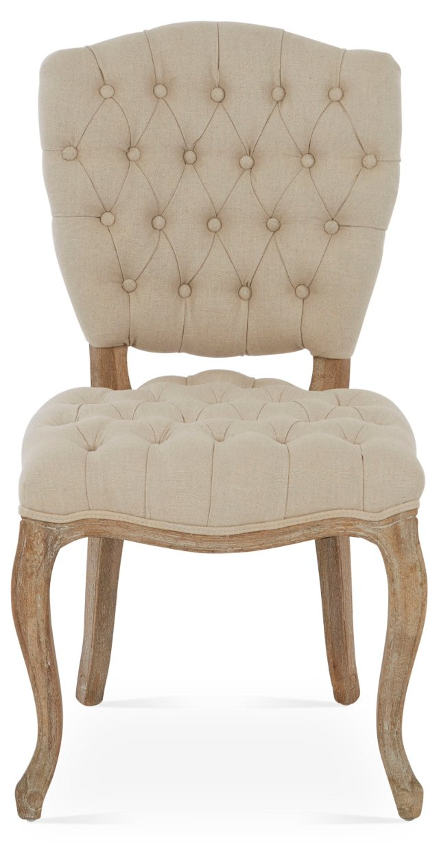 Keaton Tufted Side Chair, Oatmeal Linen