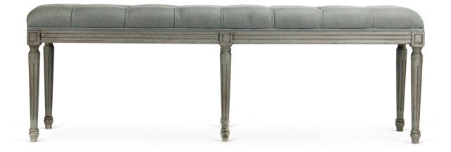 "Quentin 54"" Tufted Bench, Seafoam Linen"